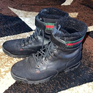 GUCCI Black Leather Signature Webbing Shearling Lined Combat Boots
